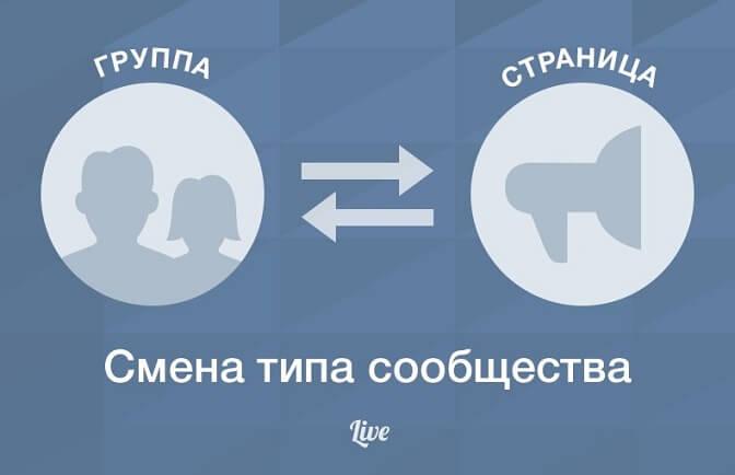 Можно ли изменить тип сообщества Вконтакте